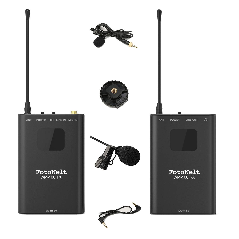 Wm Total Rewards >> Fotowelt Wm 100 Full Metal 4 Channels Uhf Wireless Lavalier Microphone System Compatible For Dslr Camera Xlr Camcorder Smartphone 50m 164foot