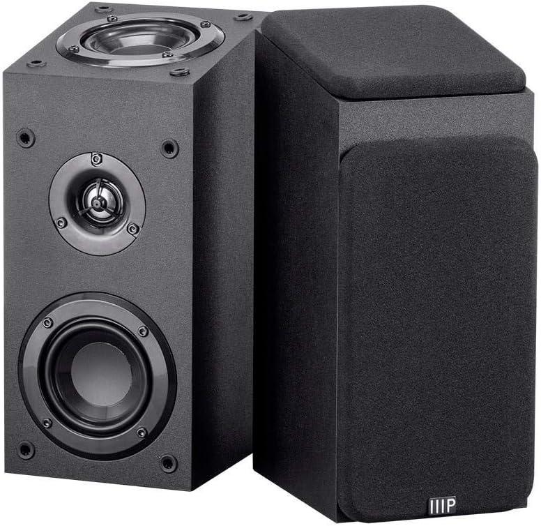 Monoprice 133833 Premium Immersive Satellite Speakers - Black (Pair) with 3Inch Woofer, 3/4Inch Aluminum Dome & 100 Watt Input Power
