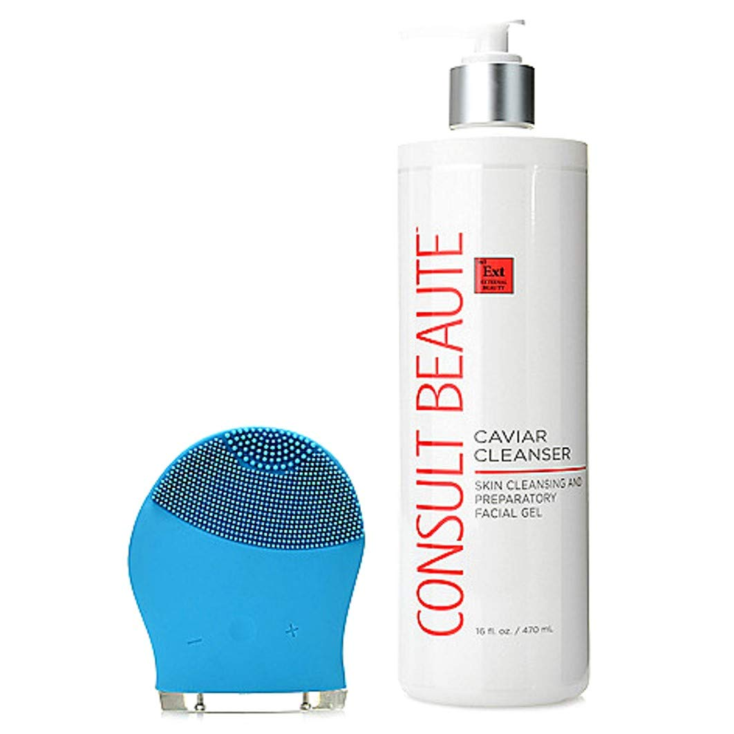 Consult Beaute Caviar Cleanser 16 oz & Multi Speed Sonic Cleansing Tool (Blue) by Consult Beaute