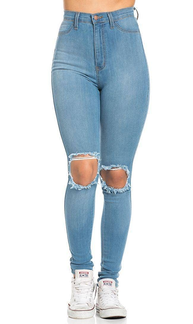 SOHO GLAM Ripped Knee Super High Waisted Skinny Jeans in Light Blue(PLUS Sohogirl.com ARPDKNWHILBL