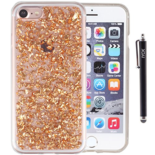 iPhone 8 Case, iPhone 7 Case, iYCK Bling Glitter Sparkle [Gold Foil Embedded] Transparent Flexible Soft Rubber Gel TPU Protective Shell Bumper Case Cover for iPhone 7/iPhone 8 4.7inch - Champagne Gold
