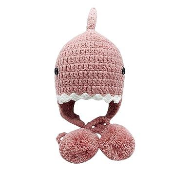7428b26d366 Amazon.com  LIULIULIU🌸Kids Winter Cute Cartoon Shark Knitted Hat Beanie  Baby Keep Warm Hairball Cap (Pink)  Garden   Outdoor