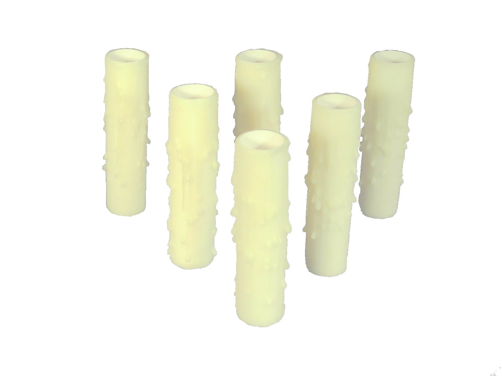 Set of 6 pc. 3'' Tall Bone Candelabra Base 3/4'' Inner Diameter Thin Base Beeswax Candle Covers, Socket Sleeves by Lighthouse Industries