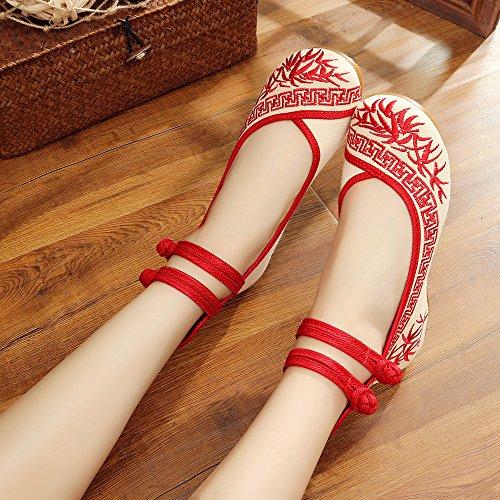 ZLL Gestickte Schuhe, Sehnensohle, ethnischer Stil, weibliche Tuchschuhe, Mode, bequem, lässig innerhalb der Zunahme red
