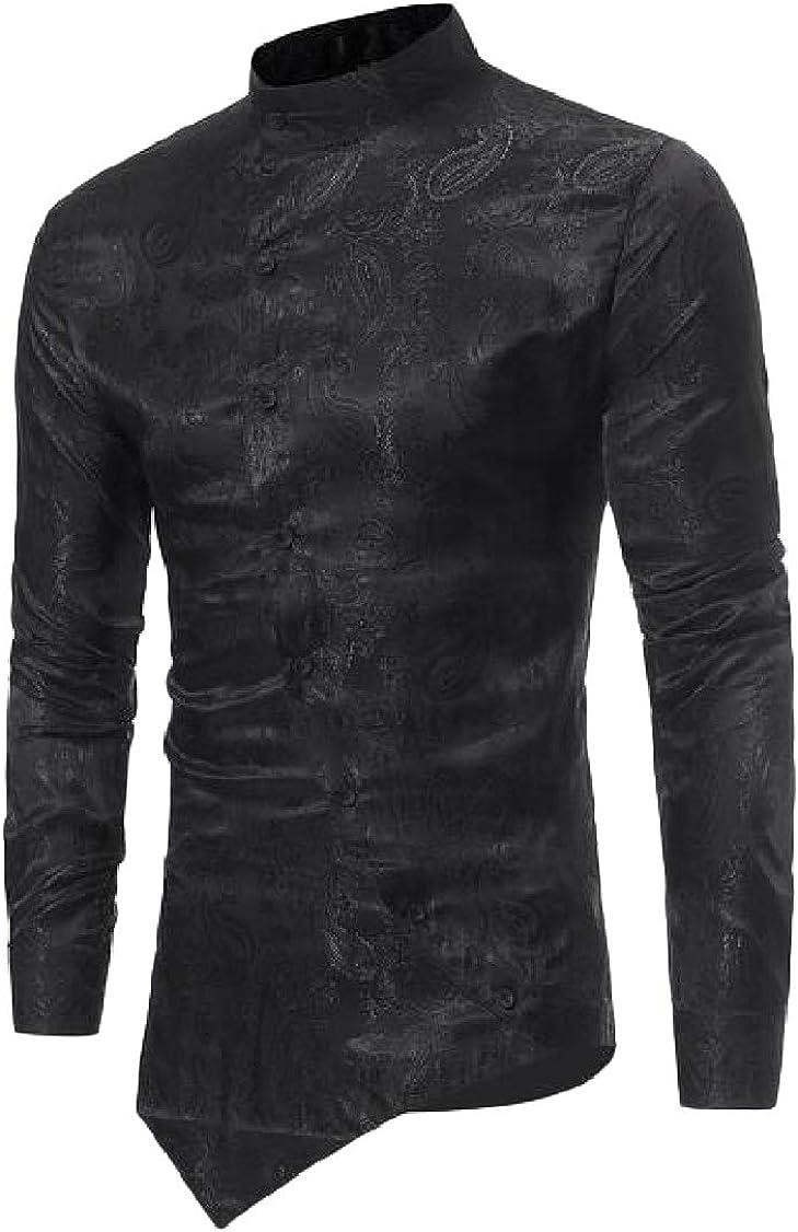 pipigo Men Irregular Embroidery Hem Casual Long-Sleeve Shirts