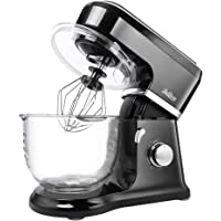 Betitay Stand Mixer 120V-60Hz/1400W, 4.5 QT Bowl, Two Bowl Options, 304 Stainless Steel Bowl and Glass Bowl with Mixing Beater, Egg Whisk, Dough Hook, and Silicone Brush