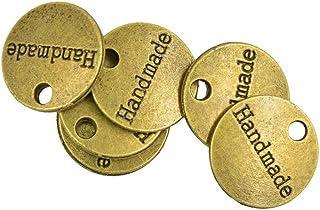 D DOLITY 50pcs bronzo antico oro rotondo etichetta tag fatti a mano charms fai gioielli fai da te