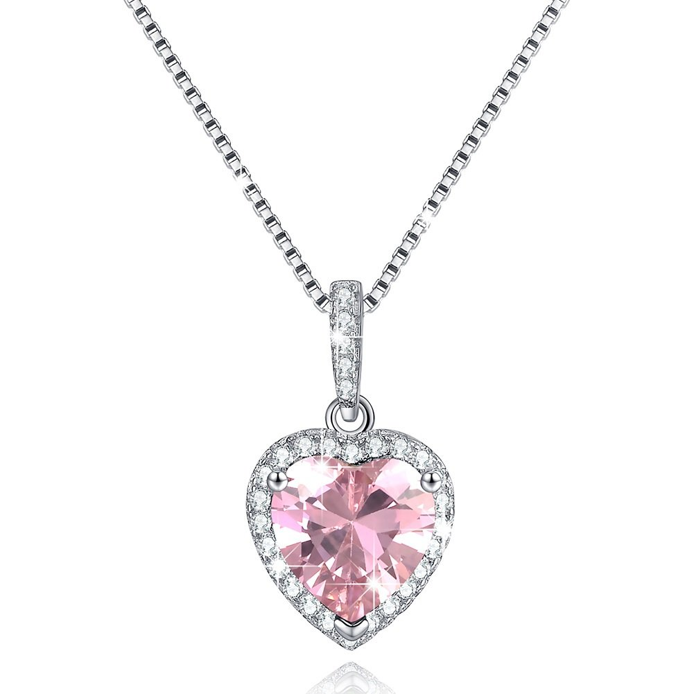 Love Heart Necklace Sterling Silver Necklaces October Pink Simulated Tourmaline Birthstone Necklace Top Selling Womens Necklace Valentine's Day Gifts For Wife Girlfriend Anniversary Gifts for Her