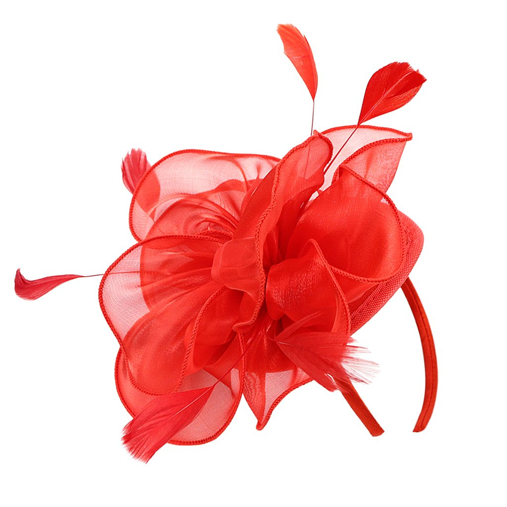 MagiDeal Women Flower Fascinator Hat 1920s Gatsby Bridal Headband Cocktail Party - red, 16 x 20 x 8cm non-brand