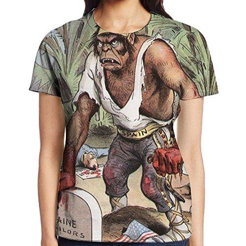 Spanish - American War Caveman Holding Butcher Knife Maine Sailors Tomb Atlanta Tshirt Women Tee T Shirt