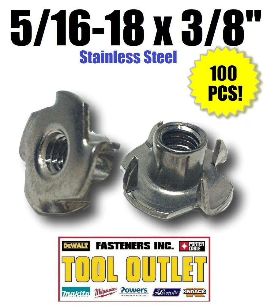 5/16-18 x 3/8'' Barrel Stainless Steel T-Nut Tee Nut 4 Prong (Qty 100)=