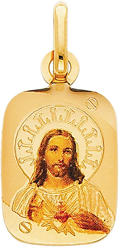 14K Yellow Gold Jesus Heart Enamel Picture Charm Pendant with 0.9mm Wheat Chain Necklace