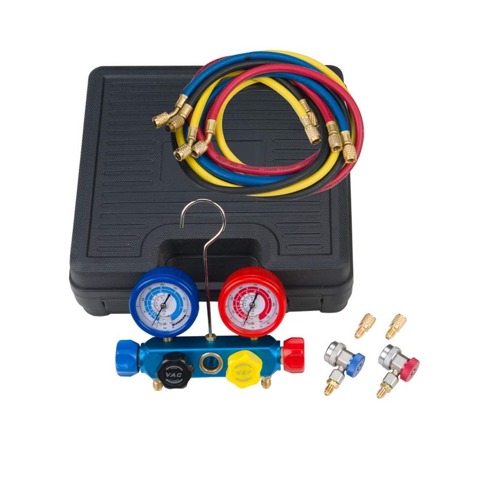 Wostore 4 Way AC Diagnostic Manifold Gauge Set for Freon Charging and Vacuum Pump Evacuation R134a R22 R404A R410A HVAC with 60'' Refrigerant Charging Hoses,Adjustable Couplers and Acme Tank Adapters