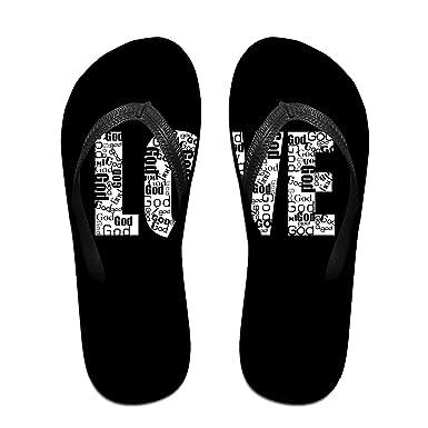 dd1239142f66 Couple Slipper LOVE Lettering Print Flip Flops Unisex Chic Sandals Rubber  Non-Slip House Thong