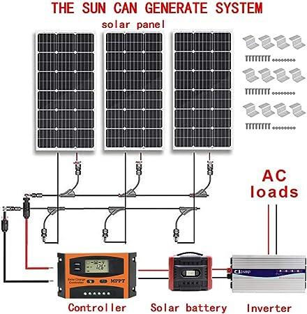 12v 300w Solar Power System Kit 3x100w Polycrystalline Silicon Solar Panels 1kw Pure Sine Wave