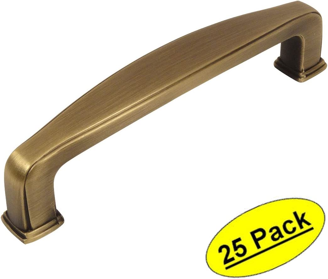 25 Pack 3-1//2 Inch 89mm Cosmas 4390BAB Brushed Antique Brass Modern Cabinet Hardware Handle Pull Hole Centers