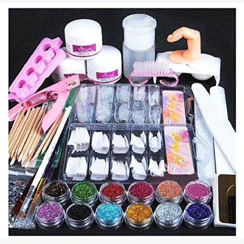 Kingfansion Acrylic Powder Glitter Nail Brush False Finger Pump Nail Art Tools Kit Set -