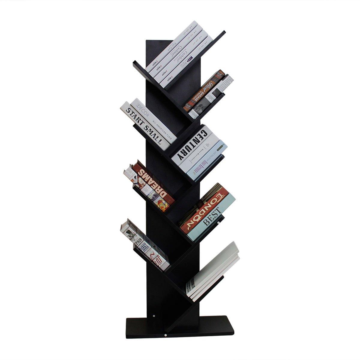 Bizzoelife 9-Shelf Tree Bookshelf Compact Bookrack Bookcase Storing Furniture for Decoration CDs, Books