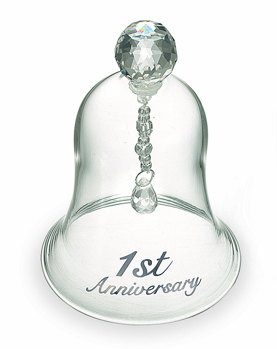 Russ 1st Anniversary Glass Bell, 4-Inch 36622