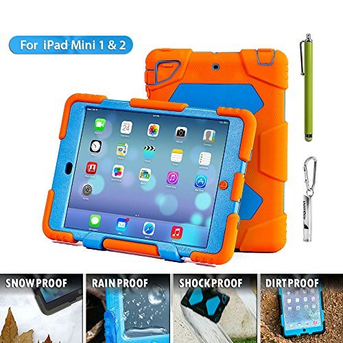 Aceguarder Apple Ipad Mini 1&2&3 Case Waterproof Rainproof Shockproof Kids Proof Case for Ipad Mini 2 Mini 1&2(gifts Outdoor Carabiner + Whistle + Handwritten Touch Pen) (ORANGE-BLUE)