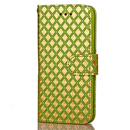 JIALUN-carcasa de telefono caso del patrón del enrejado del diamante del iPhone 7, funda de cuero de la PU cubierta suave de TPU con la caja del monedero del soporte de la correa de mano para IPhone 7 5