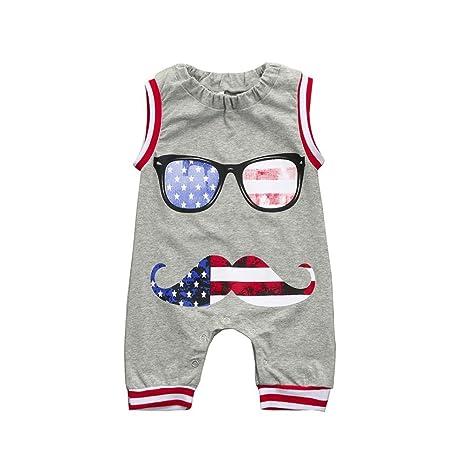 Daoroka Ropa de bebé bandera de los Estados Unidos recién nacido bebé niño pelele gafas ropa
