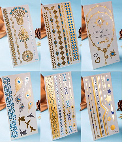 6 PCS/Lot Temporary Tattoos Gold Silver Glitter,Flash Fake Waterproof Tattoos Transferable Jewelry Henna tattoo Body Stickers For Adults or Kids