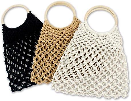 Bolsa de playa cesta cesta tejida pelota de las mujeres de verano ...