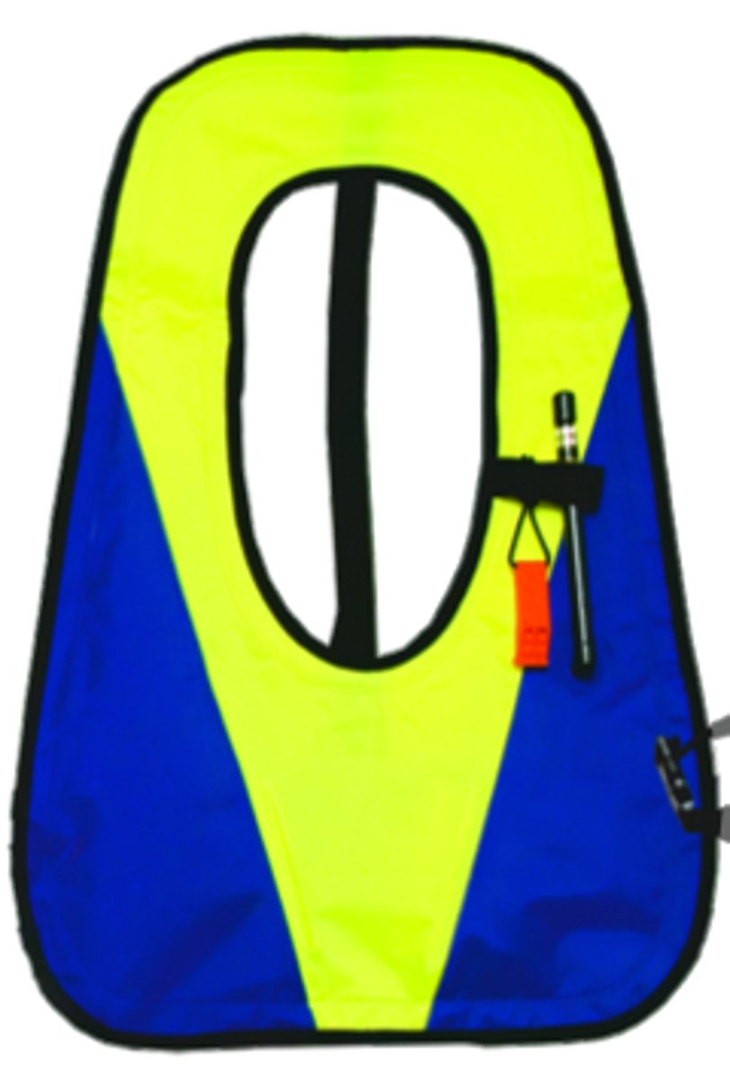 Innovative Deluxe Snorkel Vest with Plastic Valve (Blue/Yellow, X-Large)