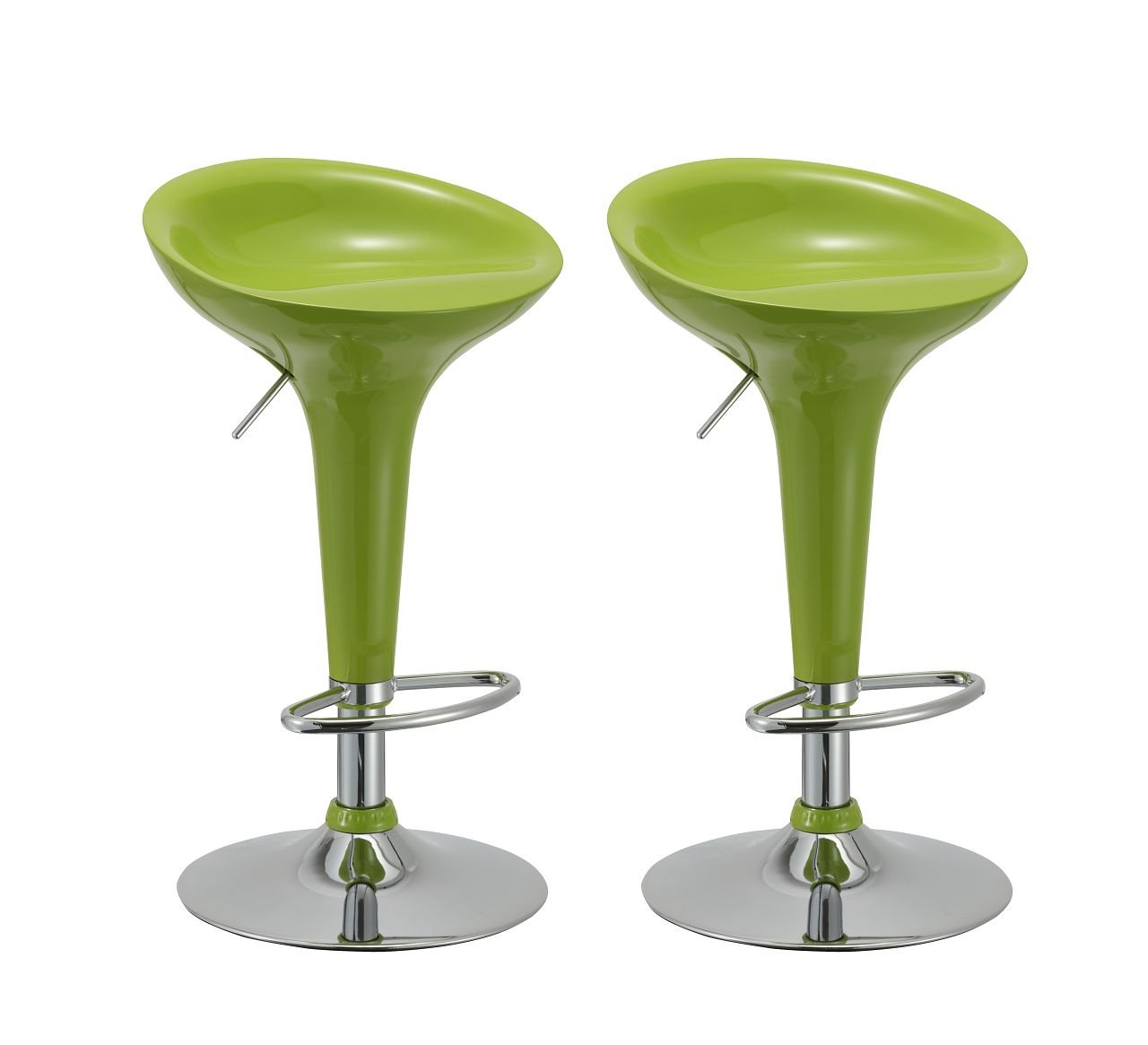 Amazon.com: Bar Stool Set of 2 Gloss Adjustable Swivel Bar Chair ...