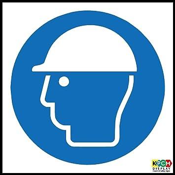 Construcción Sitio seguridad casco de seguridad símbolo señal de seguridad - autoadhesivas de vinilo 100 mm x 100 mm: Amazon.es: Oficina y papelería
