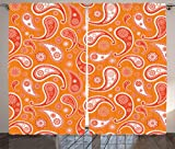 Ambesonne Burnt Orange Decor Collection, Islamic Paisley Ethnic Unusual Motifs with Eastern Oriental Patterns Decorative , Living Room Bedroom Curtain 2 Panels Set, 108 X 84 Inches, Orange White