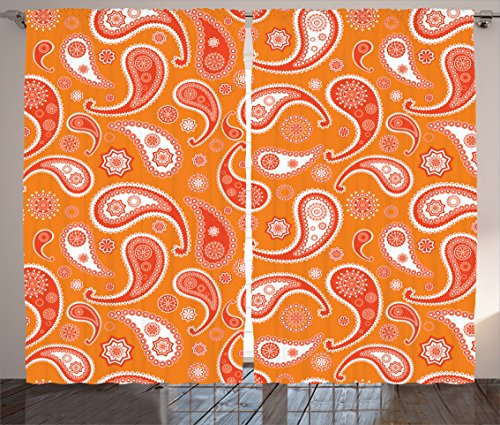 Ambesonne Burnt Orange Decor Collection, Islamic Paisley Ethnic Unusual Motifs with Eastern Oriental Patterns Decorative , Living Room Bedroom Curtain 2 Panels Set, 108 X 84 Inches, Orange White by Ambesonne