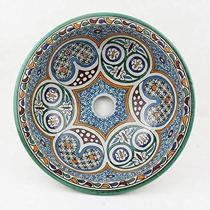 Lavabo en céramique Oriental Fes30 Ø 35 cm rond multicolore ...