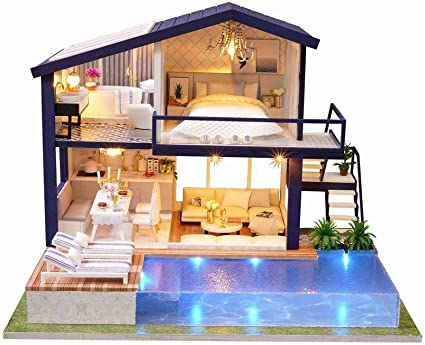 Miniature DIY Dollhouse 3D Doll House Kit Wooden Furnitures LED Light Music  !