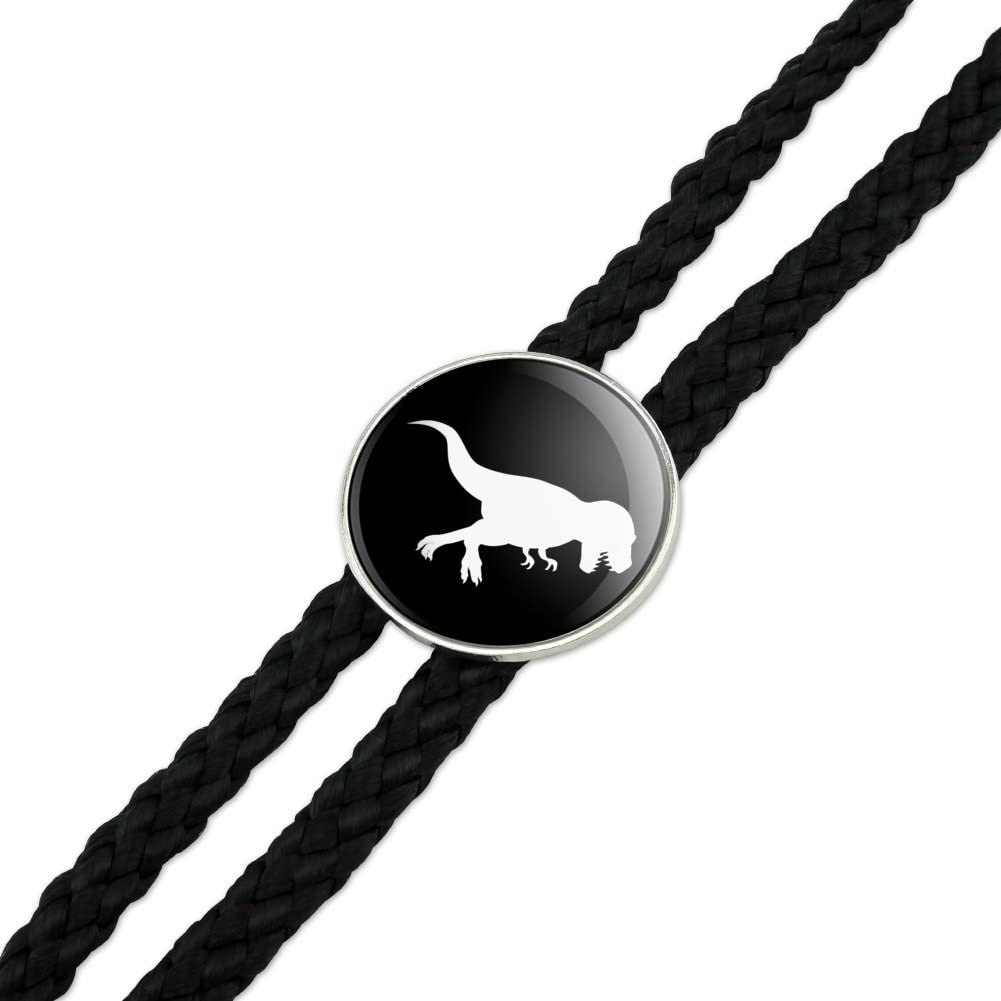 Dinosaur Tyrannosaurus Rex Black White Western Southwest Cowboy Necktie Bow Bolo Tie