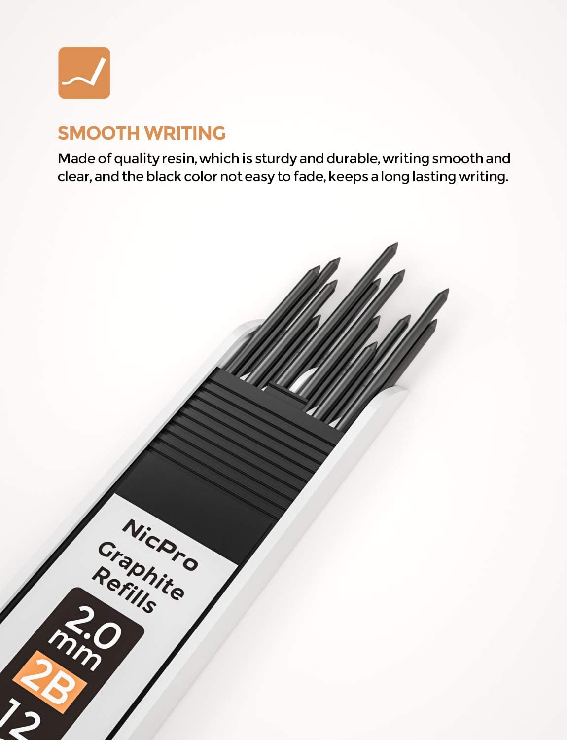 Professional 2.0 mm Mechanical Drafting Pencil Lead for for Sketching and Drawing Nicpro 60 PCS 2mm Lead Refill 2B