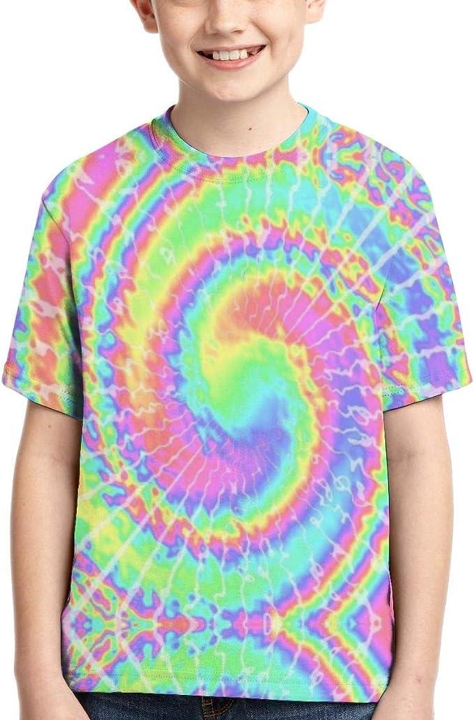 Camisetas de niño Camiseta de Manga Corta Informal psicodélica con Efecto Tie Dye para niños: Amazon.es: Ropa y accesorios