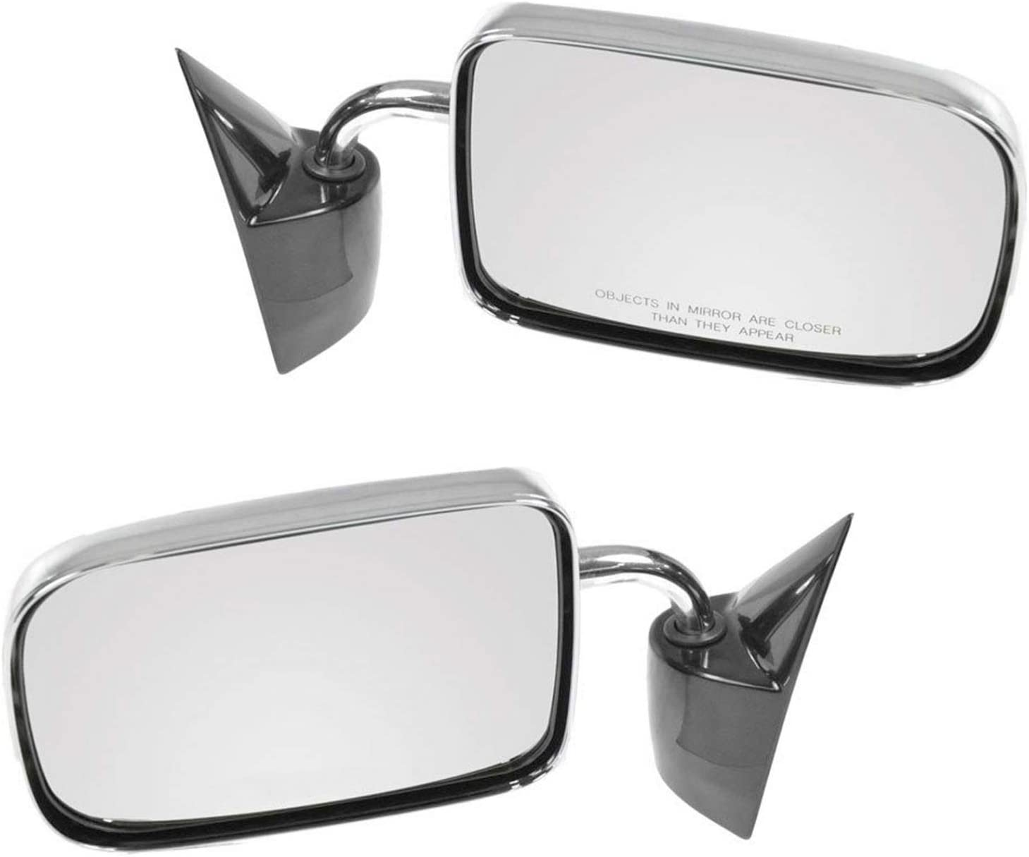 Chrome Manual Side View Mirror Left//Right Pair Set for 94-97 Ram Pickup Truck