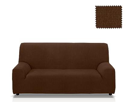 Funda de sofá elástica Minerva, Tamaño 2 plazas (de 115 a 145 Cm.), Color Marrón (varios colores disponibles)