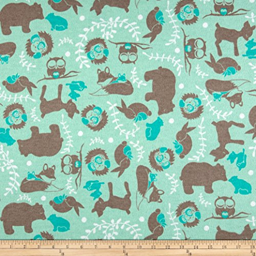 Aqua 42' Flannel (Printed Flannel Forest Toile Aqua Fabric By The Yard)
