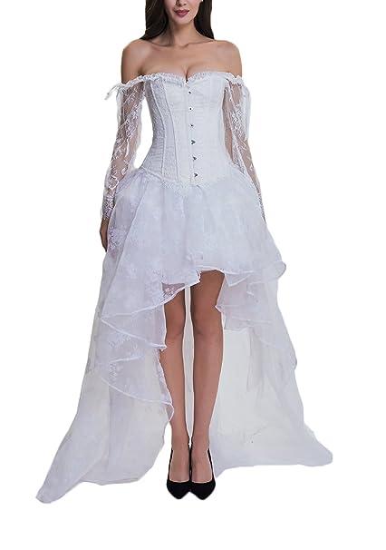 Mujer Corset Steampunk Faldas 2 Piezas Sets Tallas Grandes Elegante Manga Larga Lace Bustier Ropa Fiesta