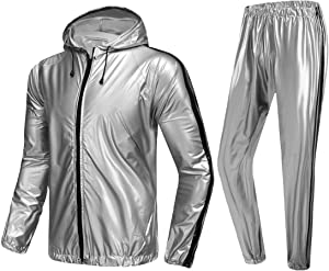 MulYeeh Weight Loss Sweat Suit Heavy Duty Full Zip Sauna Suit Fitness Exercise Gym Jacket Pant Workout Suits for Men Women