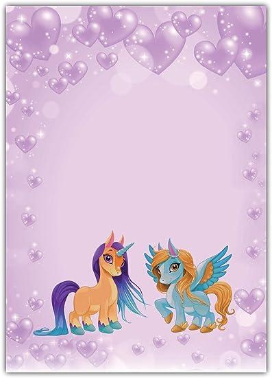 10 Kuverts Pferd Pony magisches Einhorn Set Motivpapier Briefpapier 20 Blatt A4