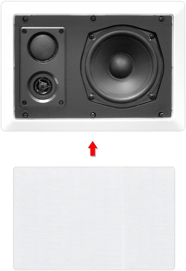 "Ceiling Wall Mount Enclosed Speaker - 400 Watt Stereo In-wall / In-ceiling 8"" Enclosed Full Range Deep Bass Speaker System - 50Hz-20kHz Frequency Response, 4-8 Ohm, Flush Mount - Pyle PDIW87 White"