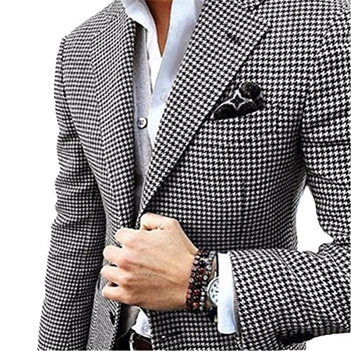 (Onlylover Slim Fit Blazer for Men Black White Floral Pattern Two Piece Men Suits (Jacket + Pants,XL))