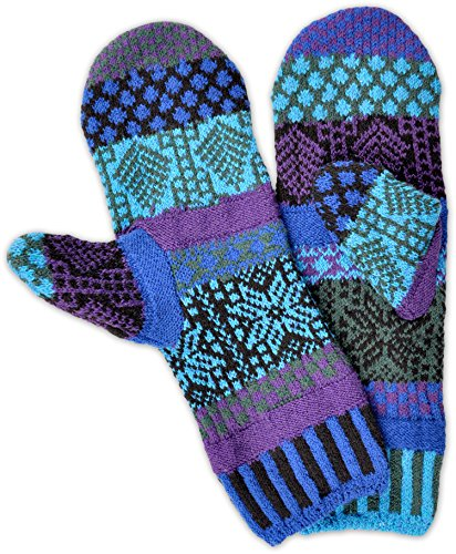 Solmate Brand USA Made Mismatched Fleece Lined Mittens, Blue Spruce (Norwegian Mittens)