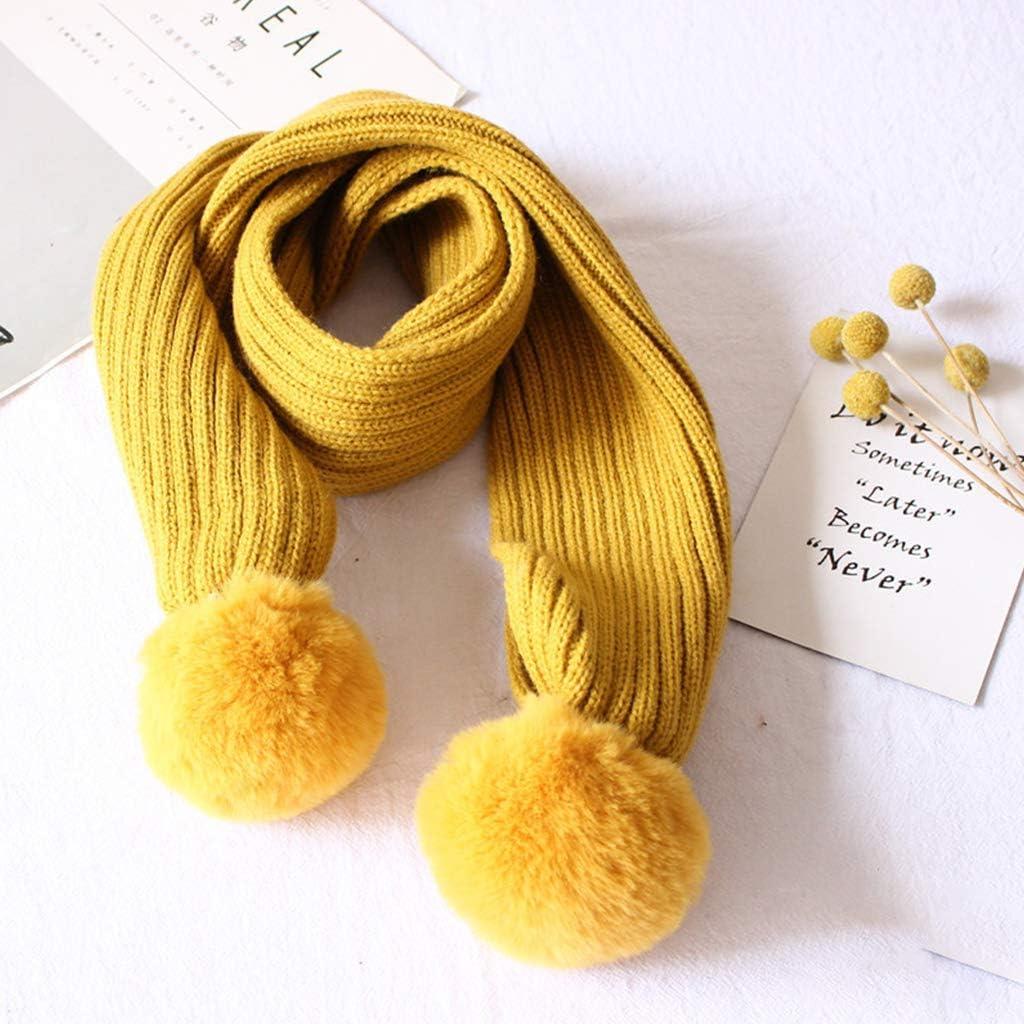 VAILANG Conjunto de Gorro y Bufanda para ni/ños Punto Pompones esponjosos de Color Liso Chal con Cabeza para ni/ños Chal