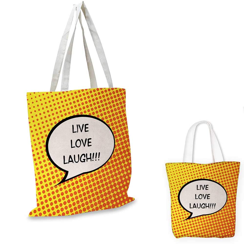 14x16-11 Live Laugh Love canvas messenger bag Comicbook Style Speech Bubble with a Quote on Halftone Background canvas beach bag Orange Yellow Black