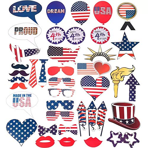 4th of July DIY Photo Booth Selfie Props Kit - 40 Pcs Patriotic Party Decoartions Happy American Independence Day Memorial Day Veterans USA Stripes Flag Funny Party Favor Supplies -